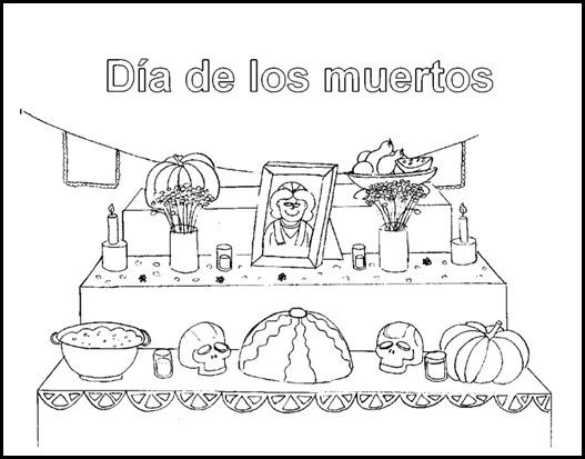 Con mirada de niños: Imágenes para colorear para día de muertos