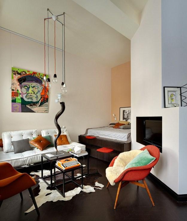 Decora o um apartamento pequeno em moscou cores da casa - Deco salon petite surface ...