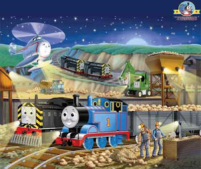 Diesel Mavis jigsaw Thomas and Friends Night Works 100 Piece Childrens Puzzle Toy Glow-in-the-Dark