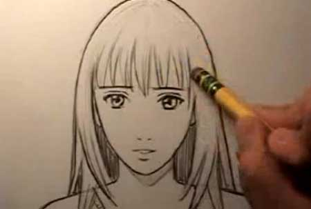 How To Draw a Realistic Manga Face - Female