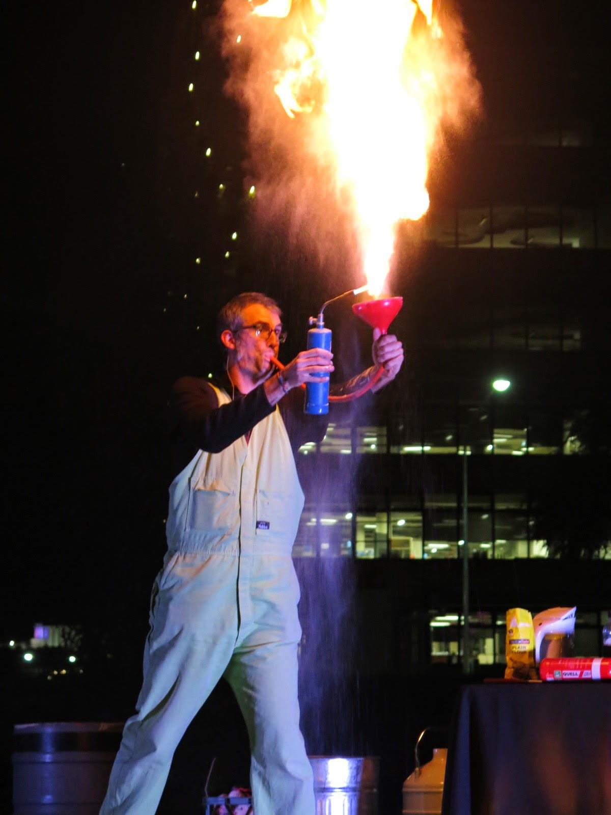Dr Graham Walker burning flour