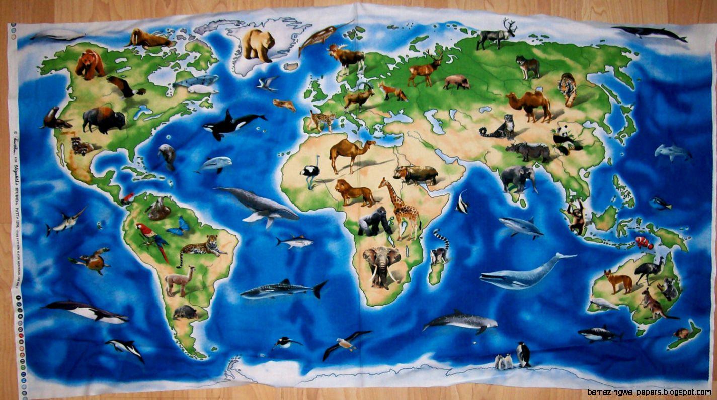 A Wonderful World Atlas With Animals World by CountryCharmFabrics
