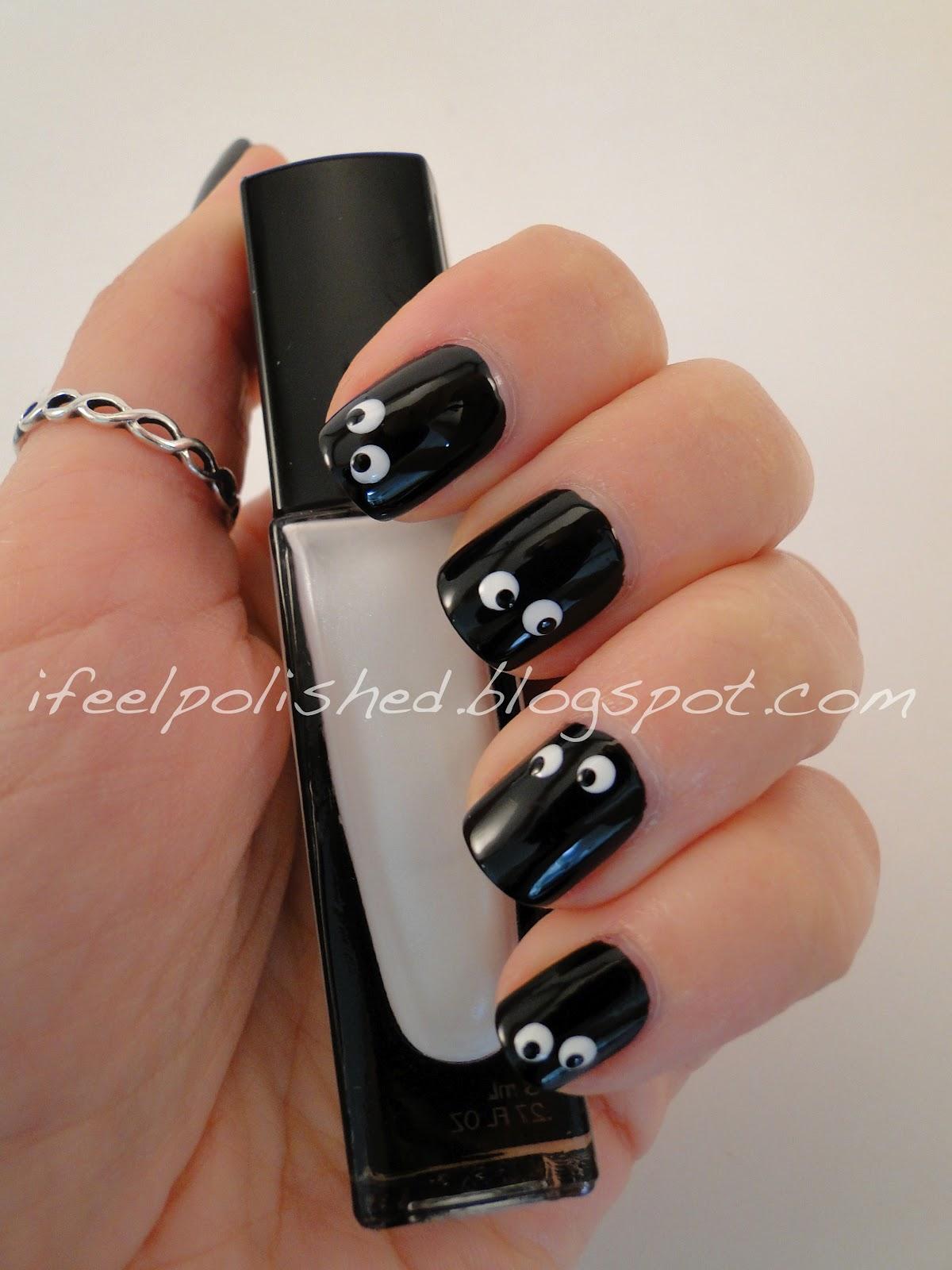 I feel polished halloween nails googly eyes - Decoracion de halloween ...