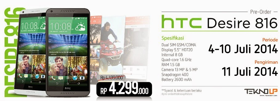 HTC Desire 816 Harga Preorder Rp 4.299.000 TeknoUp Store.