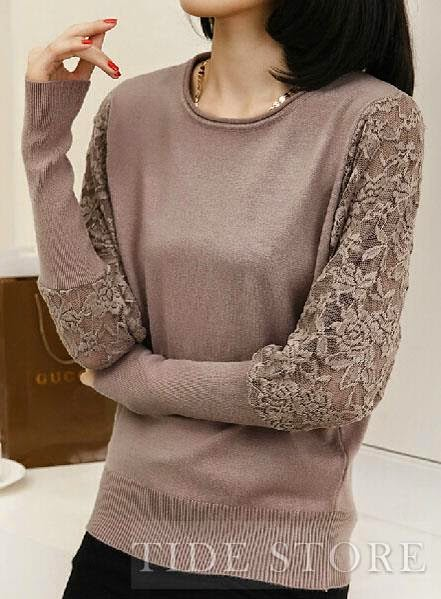 Tidestore Lace Bat Sleeve Sweater
