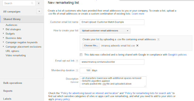 Upload Your Emails, Save And Treat It Like Every Other Remarketing List