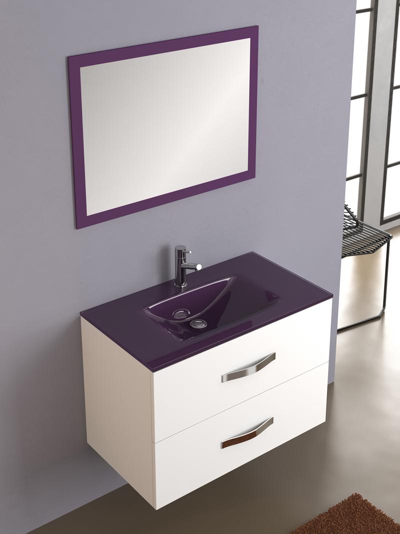 Muebles Para Baño Blanco:Mueble de baño modelo Deva compuesto por mueble, espejo y encimera