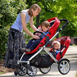 Strong Double Stroller Makes Great Fit For Two Infants