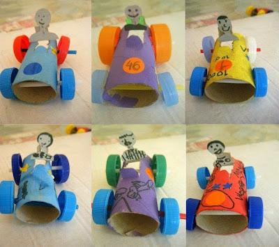 carrinhos com reciclagem de rolo de papel higiênico