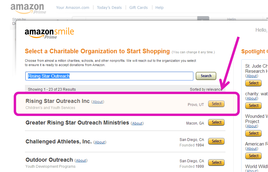 how to change charity for amazon smile
