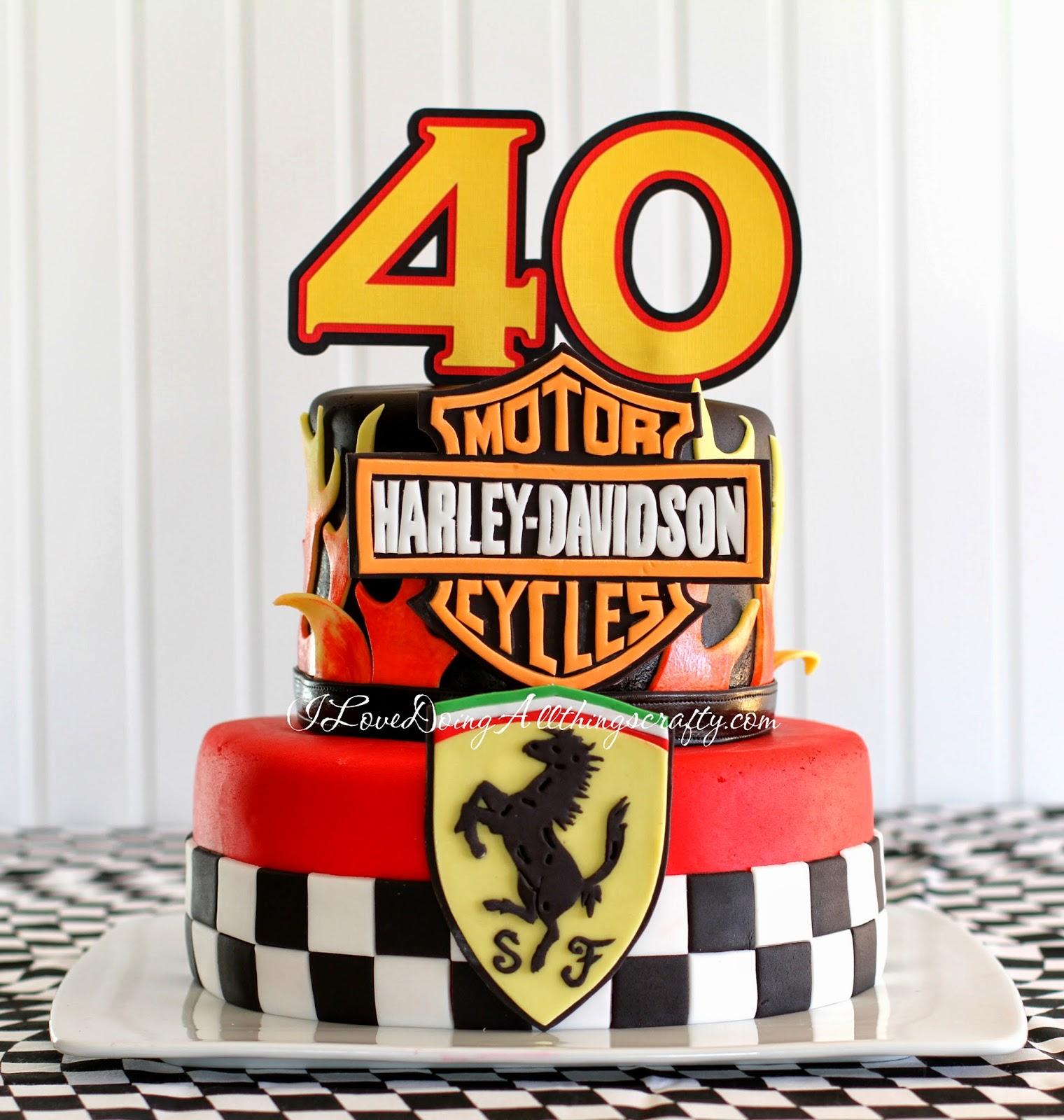 Harley Davidson Ferrari 40th Birthday Cake