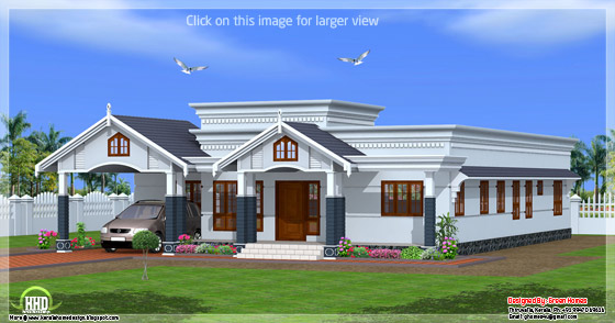4 bedroom single floor Kerala house - side view