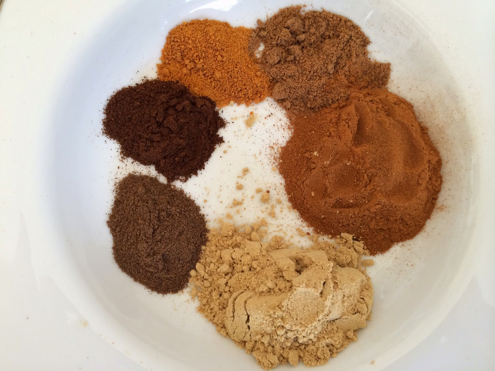 Pumpkin Pie Spice Blend: ginger, allspice, cloves, mace, nutmeg, cinnamon