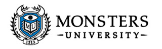Logo of Monster University showing a one eyed horned monster.  