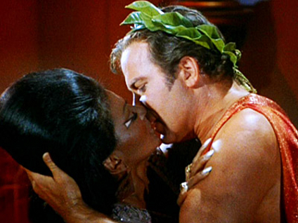 ... Captain Kirk (William Shatner) and Uhura (Nichelle Nichols) to kiss.