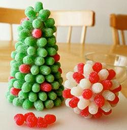Enfeites natalinos com jujubas e gomas