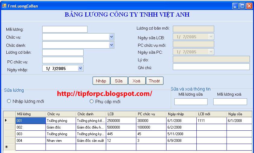 [Đồ án tốt nghiệp] - Mã nguồn Phần mềm Quản Lý Nhân Sự Cty TNHH Việt Anh 1