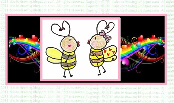 ABC To Drawing Valentine ideas How to draw bee my valentine card – How to Draw Valentine Cards