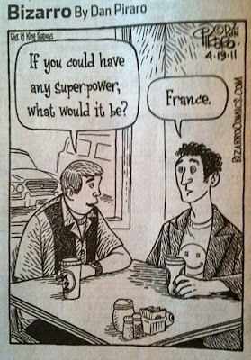 Cartoon of 2 guys talking, one says If you could have any superpower, what would it be? The other guy says France