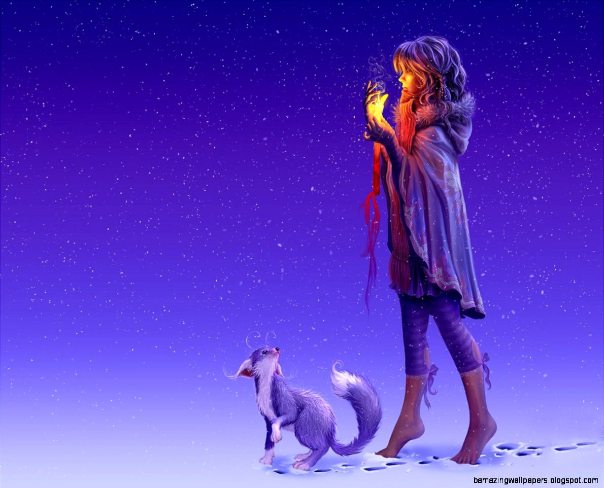 Winter Night Snow Girl Female Flame Spark wallpaper by ThorMark