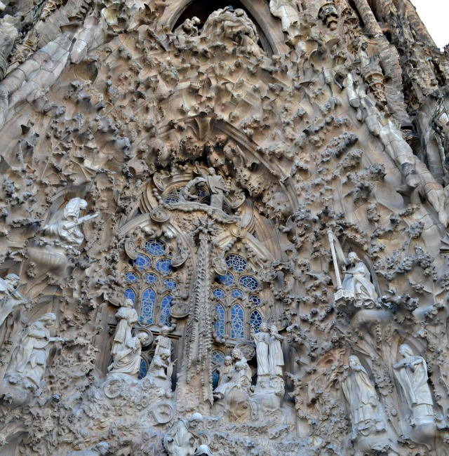 barcelona sagrada familia outside facade close up detail gaudi