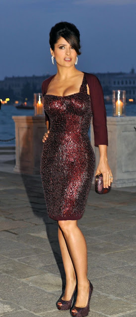 Hot Salma Hayek Latest Pictures In Italy Attending II Mondo Vi Appartiene