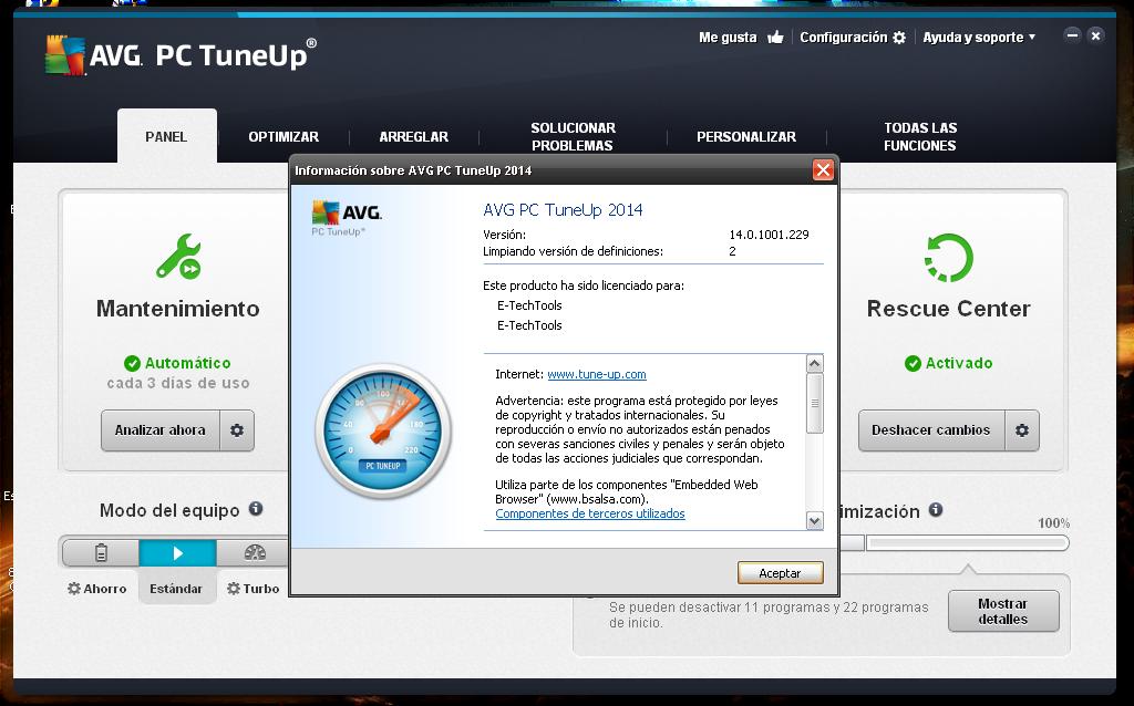 ... podemos usar el AVG PC Tuneup 2014 para Limpiar y Ordenar nuestro PC
