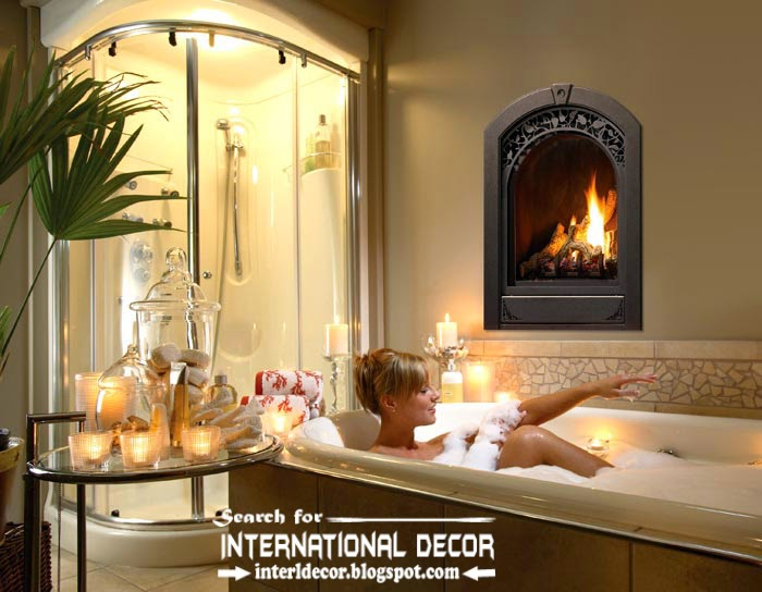 Cozy Interior bathroom with fireplace designs ideas, electric fireplace in wall