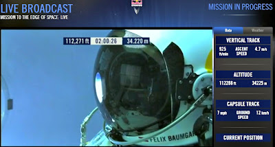 LIVE VIDEO - Mission To The Edge of Space –  Record-Breaking Freefall Jump (2) 10-14-12