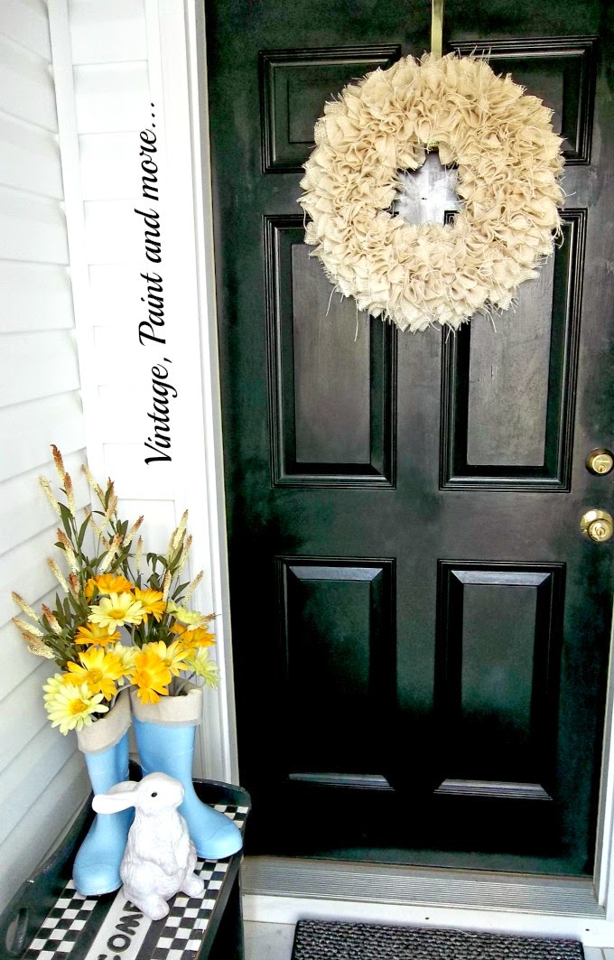 Spring Entryway - burlap wreath, painted boots