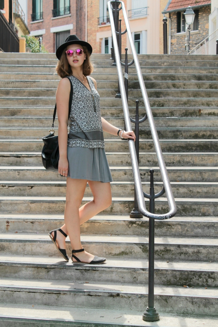 Paris, France OOTD: black and white printed shirt, worn with a skirt and black felt hat