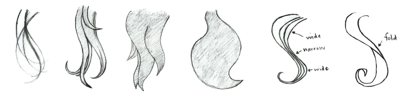 Windblown Hair Drawing