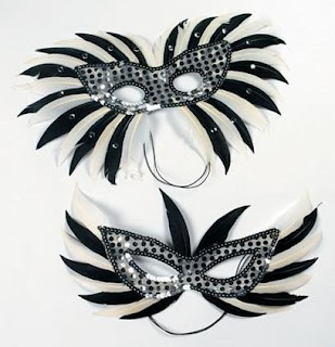 Very affordable black and white feather masquerade masks.
