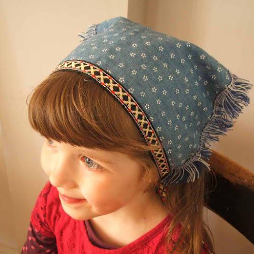 adding vintage trim to child's bandana folk festival sewing handmade