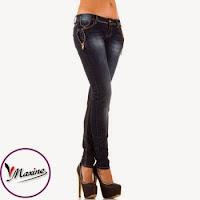 Jeansi moderni, de culoare albastra, cu fermoare decorative in lateral ( )