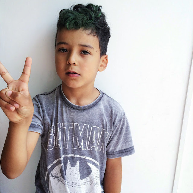 Green boys hair