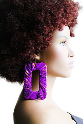 large purple african fabric hoop earrings