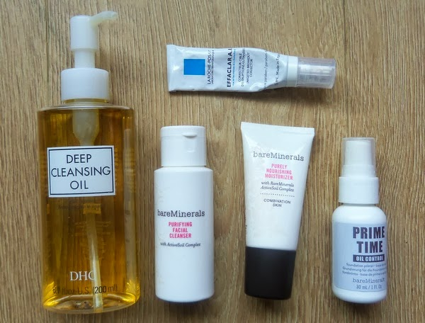DHC cleansing oil, bareMinerals purifying cleanser, moisturizer, oil control primer & Effaclar A.I.