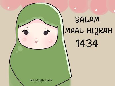 maal hijrah 1434,doodle,kartun muslimah,comel