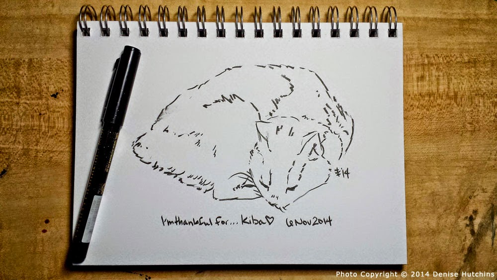 Ink Sketch of Sleeping Manx Cat