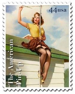 Почтовые марки США с изображениями в стиле пин-ап
