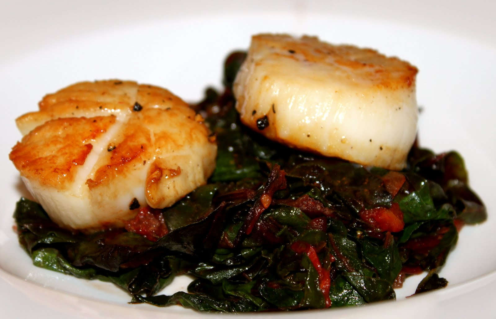 Piccante Dolce: Seared Scallops with Bacon Braised Chard