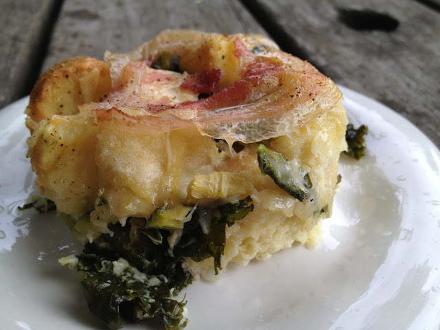 kale and zucchini bread pudding