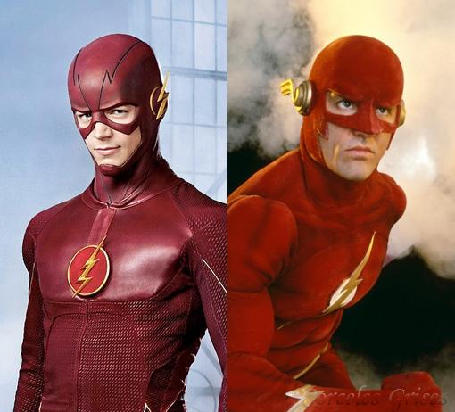 Montaje fotográfico de Grant Gustin y John Wesley Shipp con sus trajes de Flash