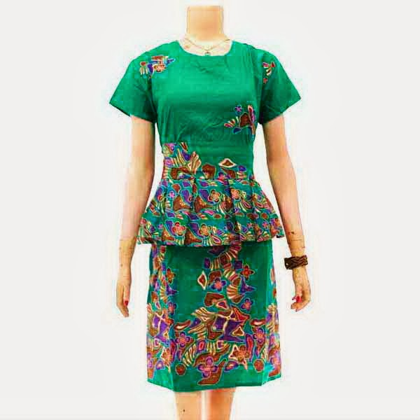 DB3256 Model Baju Dress Batik Modern Terbaru 2014