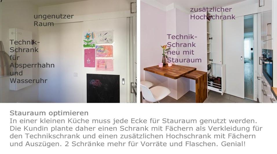 Der Raum in der Küche ist optimal genutzt, die Technik ist gut untergebracht und viel Stauraum ist entstanden