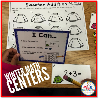 addition math center, Time 4 Kindergarten, Winter Math Stations