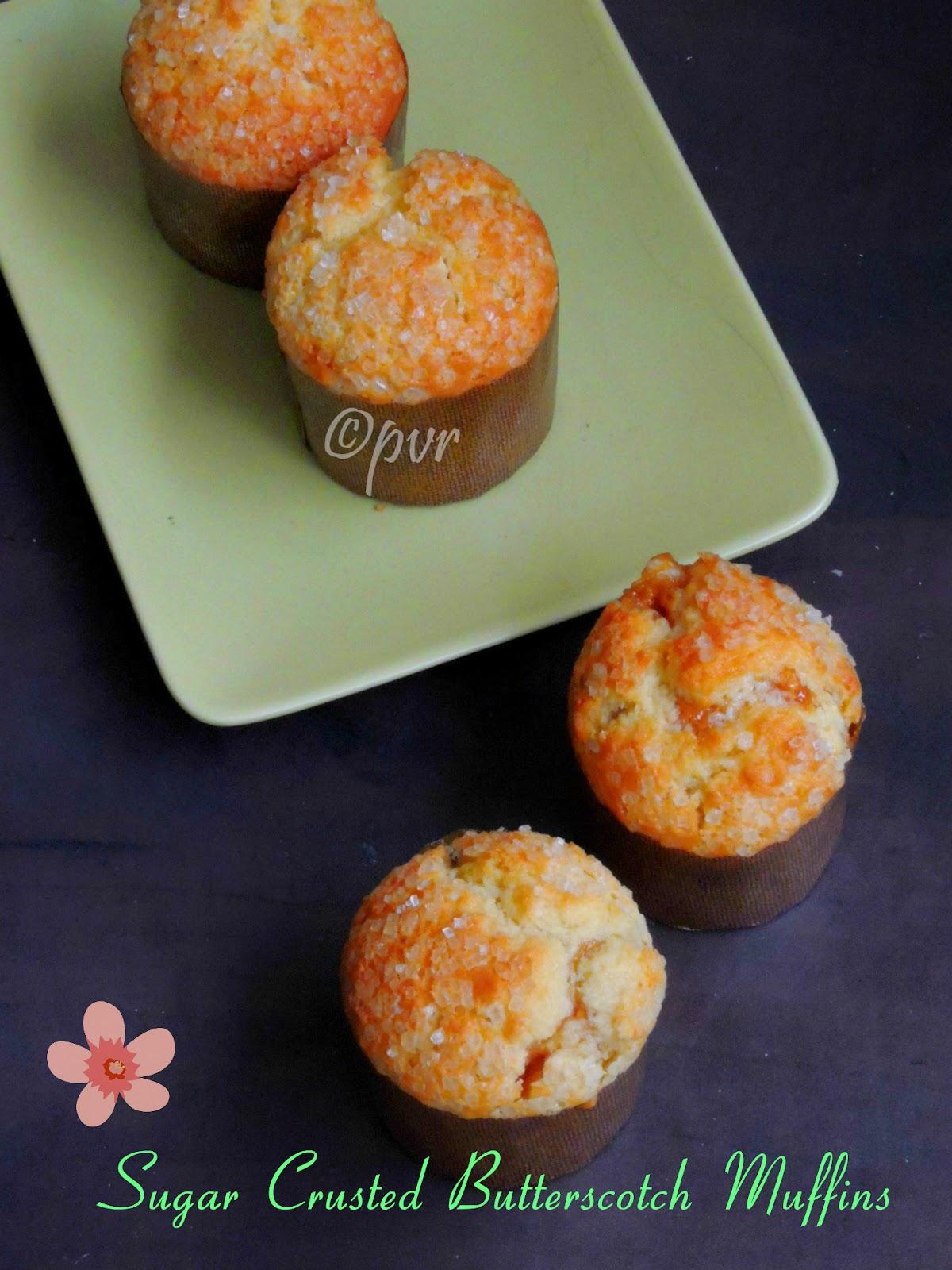 Butterscotch Muffins with sugar crust