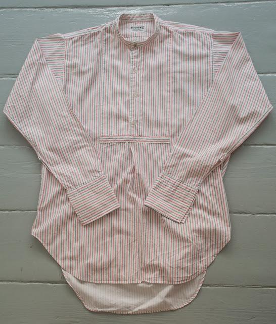 Collarless shirt made by
