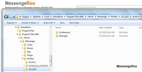 Yahoo Messenger Archive Message Location Windows 7 Vista